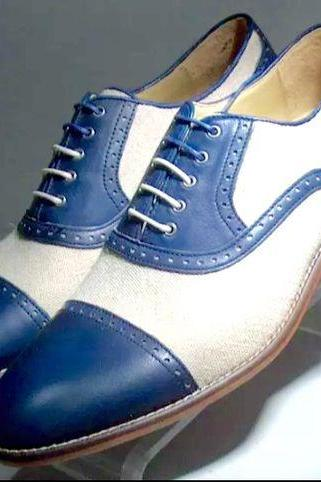 Handmade Men Oxford two tone Spectator formal shoes, Men Blue and white shoes