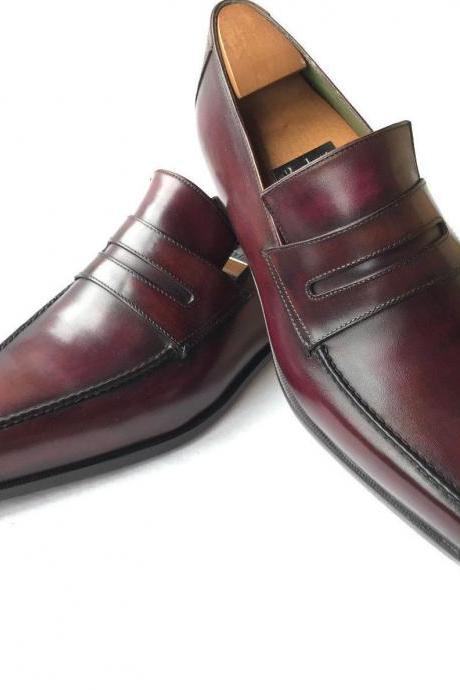 Handmade Men burgundy formal leather shoes, Men dress shoes, Leather shoes for mens, Men Leather moccasins