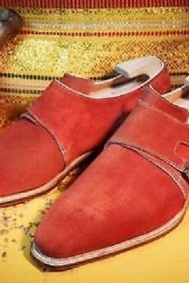 Handmade Red color Double monk Party Shoes, Men designer red suede monk shoes