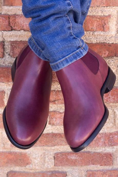 Handmade Men Burgundy Color Leather Chelsea Boots, Men Ankle Leather Boots