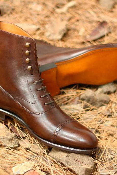 Handmade Men Designer Brown Ankle Leather Boots, Men Lace Up Ankle Boots