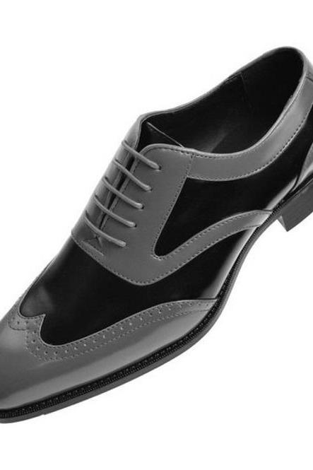 Handmade Men Black And Gray Wingtip Formal Shoes Men Leather Dress Shoes