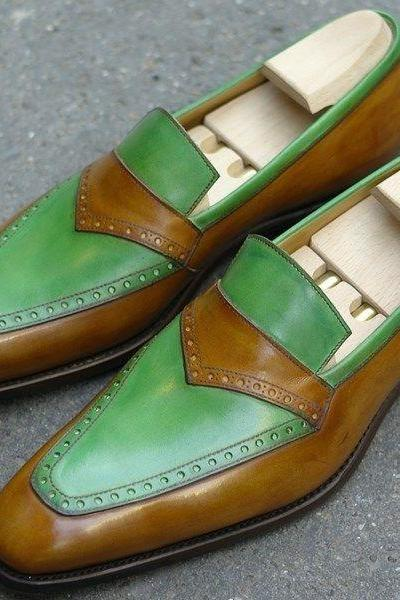 Handmade Men two tone formal shoes, Men green color and tan dress shoes, Men leather moccasins