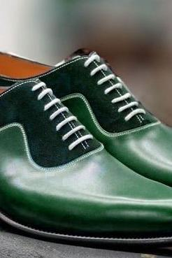 Handmade Men Green color formal shoes, Men green dress shoes, Men leather shoes