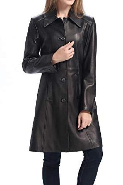 Women Black Color Genuine Lamb Skin Walking Coat, Women Black Long Coat