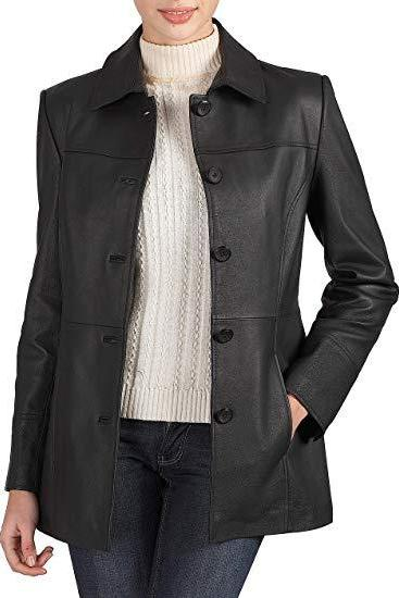 Women Black Color Genuine Lamb Skin Car Coat, Women Black Long Coat