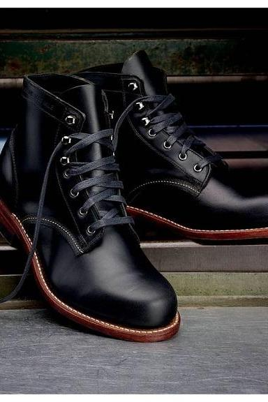 Handmade Men Black Casual Leather Ankle Boots Men Lace Up Ankle High Boots