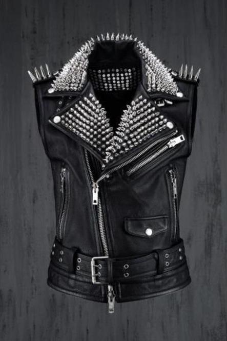 Handmade Men Rock Punk style Belted leather Vest, Men black biker studded jacket