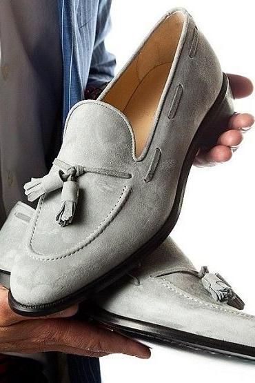 Handmade Men Light Gray Suede casual Tassels Shoes Moccasins, Men tassels shoes