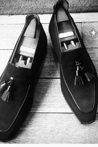 Handmade Men Black Suede Tassels Shoes, Men Black Loafer Suede Moccasins