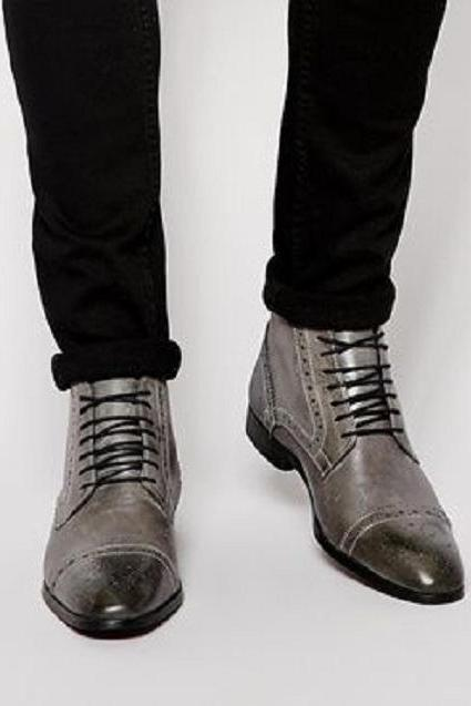 Handmade Men Gray Brogue Oxford Lace up ankle boots, Men Gray Leather dress ankle high boots