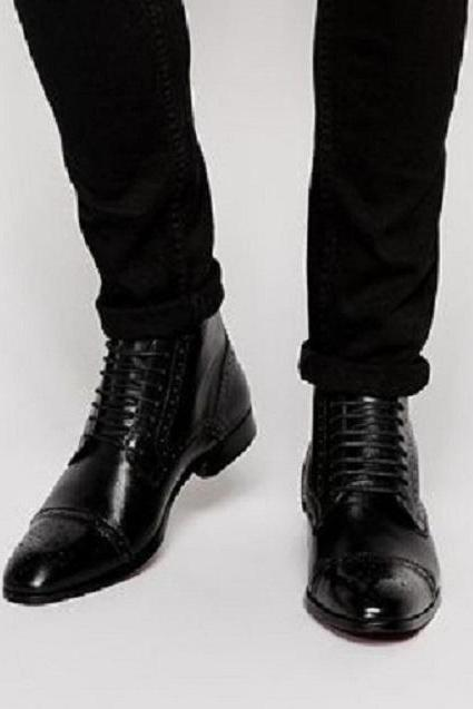 Handmade Men Black Brogue Oxford Lace up ankle boots, Men Black Leather dress ankle high boots