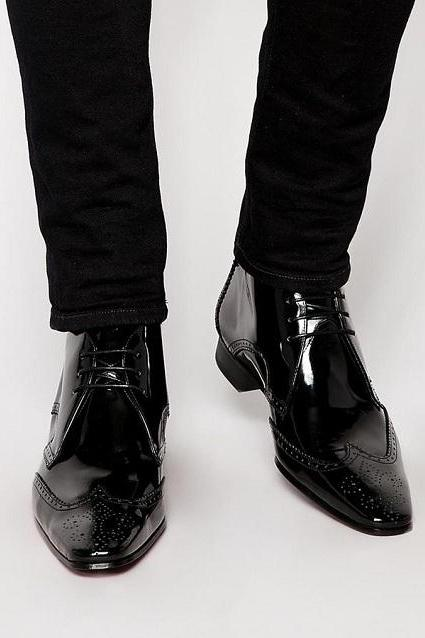 Handmade Men Black Brogue Oxford Lace up ankle boots, Men Black Patent Leather dress ankle high boots