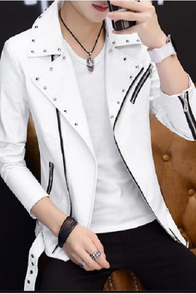 Handmade Mens White Studded Jacket, White biker jacket for mens, Mens leather jacket