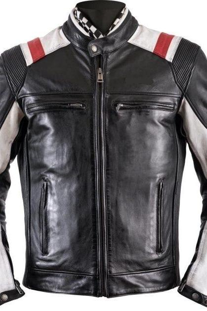 Handmade Mens Two Tone Biker Jacket, Men Black Brando Motorcycle Jacket