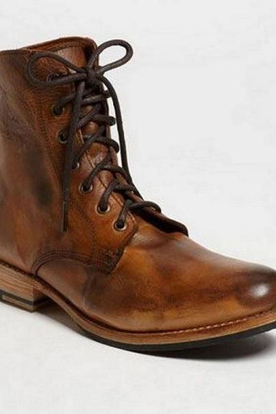Handmade Mens Antique Brown Lace up boots, Mens brown leather Ankle high boots, Boots for mens