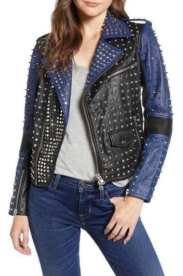 Women Two Tone Rock Punk Style Studded Jacket, Women Biker Studded Jacket