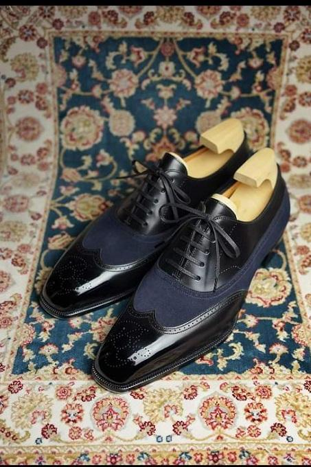Handmade Men's Wing tip two tone dress shoes, Men formal shoes