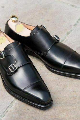 Handmade Men's Double Monk Formal Shoes, Men Black Leather Dress Shoes