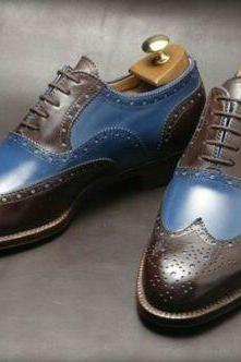 Handmade Men's Wing Tip Brogue Lace up Dress Shoes, Real Leather Men Shoes