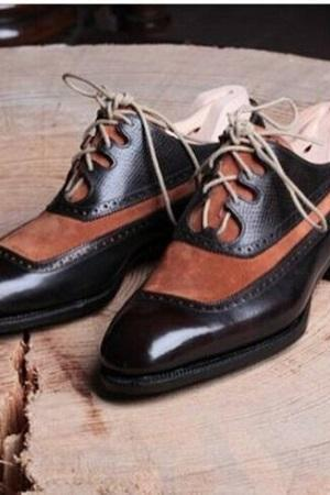 Handmade Men's Two Tone Dress Shoes, Men Brogue Derby Formal Leather Shoes