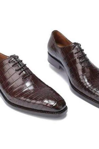 Handmade Men's Brown Crocodile Patterned Dress shoes, Men brown formal shoes