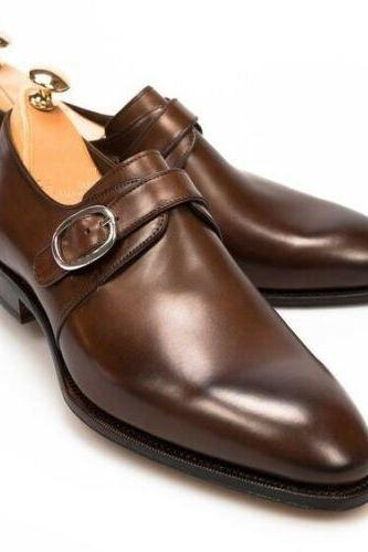 Handmade Mens Oxfords brown leather monk shoes, Men brown leather dress shoes