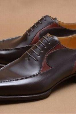 Handmade Men's Stylish Oxfords two tone Leather Dress shoes, Men tuxedo shoes