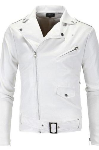 Handmade White Leather Biker Jackets, Real Leather Buckle Closure Jackets For Mens