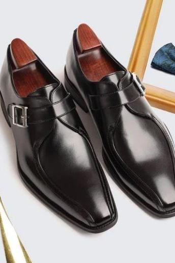 New Handmade Men's Black Monk Strap Business Shoes, Real Office Leather Shoes