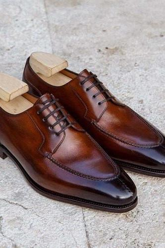 Handmade Men Brown Derby Lace Up Round Toe Business Shoes, Real Leather Shoes