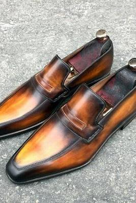 Handmade Men's Tan and Black Almond Toe Moccasin Dress Shoes, Real Leather Shoes