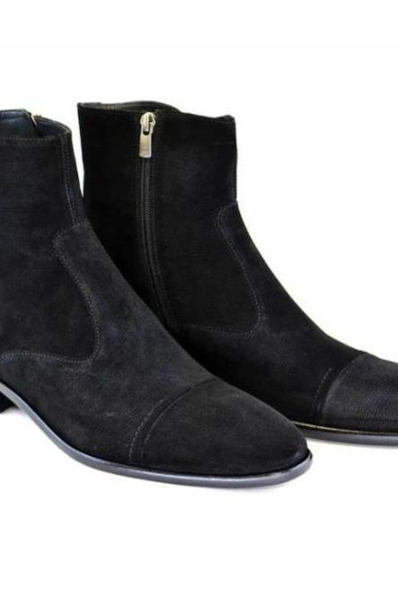 Handmade Men Black Cap Toe Ankle Boots, Men Side Zipper Classic Ankle Boot