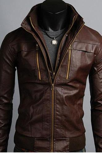 Men's Leather Jackets Korean Style Casual Slim Fit Biker leather jacket mens