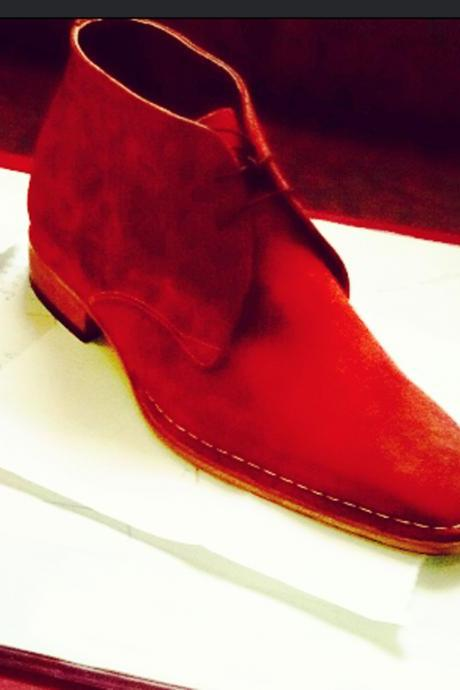 Handmade mens Ankle suede leather boots in Cherry red , Men cherry red suede leather boot