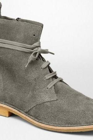 Handmade mens suede leather boots with crepe sole, Men gray ankle suede boots