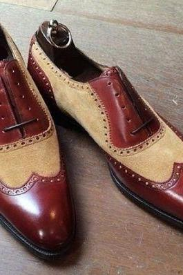 Handmade Men two tone leather formal shoes, Men beige and brown dress shoes, Men leather shoes