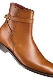 Handmade mens fashion jodhpur ankle boots,Men Tan ankle high jodhpur boots