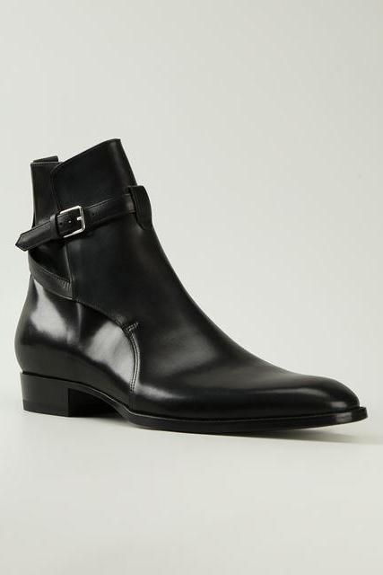 Handmade mens fashion black ankle boots,Men Black ankle high boots
