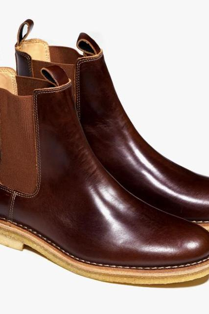 Handmade mens Chelsea leather boots with crepe sole, Men real leather ankle boot
