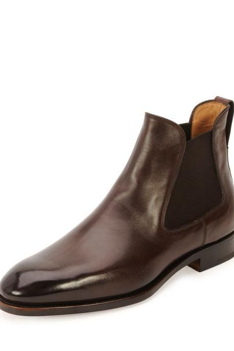 Handmade men brown leather boots, Men ankle high real leather boot, Mens fashion