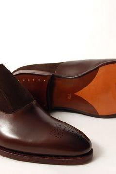 Handmade men brown formal shoes, Men brown suede and leather dress monk shoes