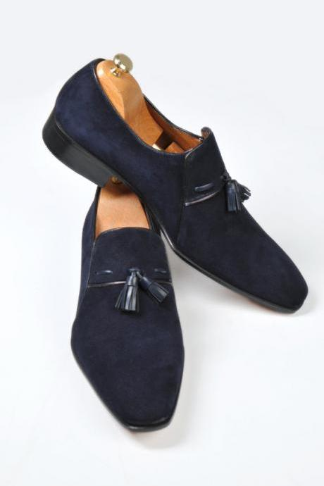 Handmade men dress suede leather moccasins,sip ons, Men suede Navy blue shoes
