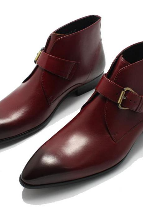 Handmade men Maroon pointed toe genuine leather boots, Mens fashion leather boot