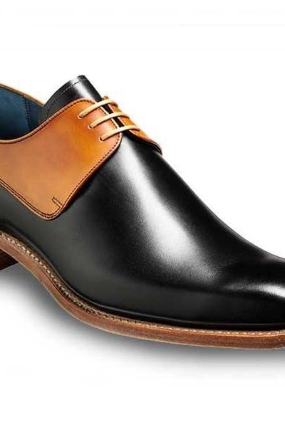 Handmade mens shoes, Mens black and tan derby shoes, Men laceup shoes, Men leather shoes