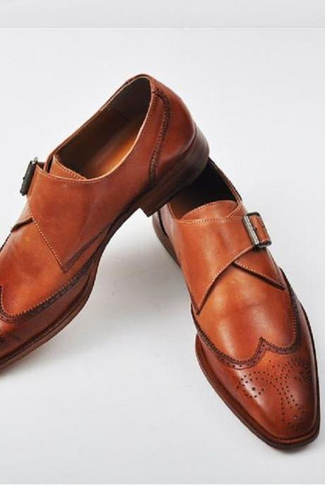Handmade men Tan color dress shoes, Mens leather monk shoes, Mens formal shoes
