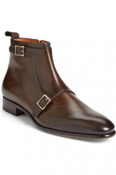 Handmade men brown Genuine leather ankle boots, Men side zipper ankle boot