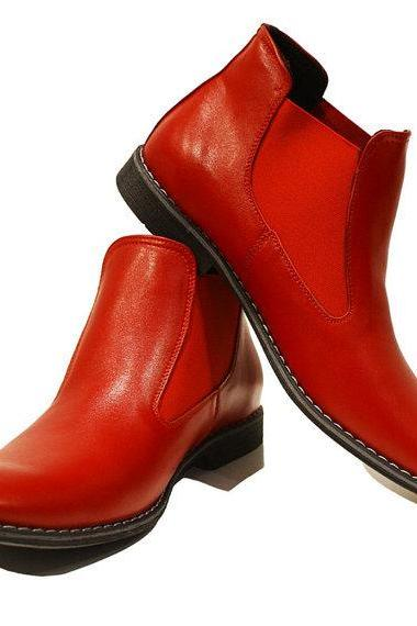 Handmade men Red color Genuine leather ankle boots, Men real leather boots