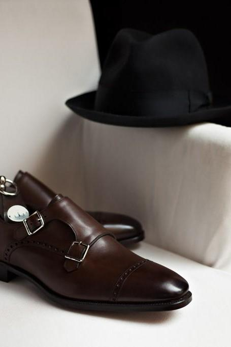 Handmade men Real leather monk shoes, Men brown formal shoes, Mens dress shoes