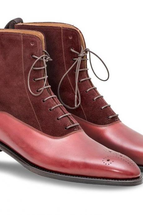 Handmade men Burgundy color suede and leather ankle boots, Men Brogue ankle boot